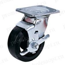 Большегрузное обрезиненное колесо поворотное с тормозом SCdb42 (302) 100 мм