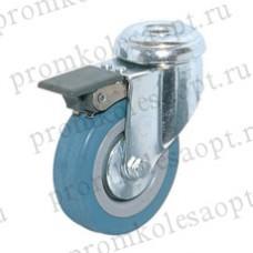 Аппаратное поворотное колесо с тормозом крепление под болт SChgb25 (107) 50мм