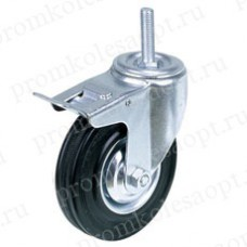 Колесо промышленное поворотное болтовое крепление с тормозом SCtb42 (202) 100 мм