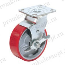 Полиуретановое колесо большегрузное поворотное с тормозом SCpb42 (220) 75мм