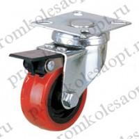 Колесо аппаратное красное из ПВХ поворотное с металлическим тормозом PV With brake (131M) 50 мм