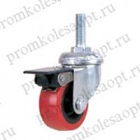 Колесо аппаратное красное из ПВХ болтовое крепление с тормозом PV (131TВ) 50 мм