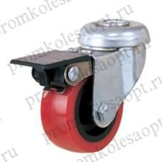 Колесо аппаратное красное из ПВХ под болт с тормозом