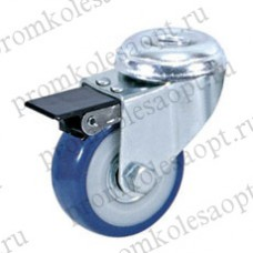 Колесо аппаратное синее из ПВХ под болт с тормозом