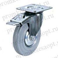 Колесо промышленное поворотное с тормозом серая резина SGb63 (17) 160мм