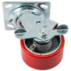 Полиуретановое колесо большегрузное поворотное с тормозом SCpb93 (305) 75x50мм